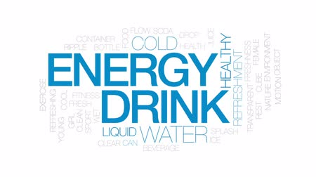 recipiente : Energy drink animated word cloud, text design animation. Kinetic typography.