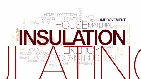 azaltmak : Insulation animated word cloud, text design animation. Kinetic typography. Stok Video