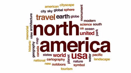 cartografia : North America animated word cloud, text design animation.