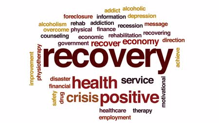 addiction recovery : Recovery animated word cloud, text design animation.