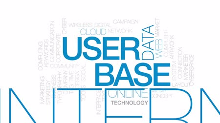 anahtar kelimeler : User base animated word cloud, text design animation. Kinetic typography. Stok Video