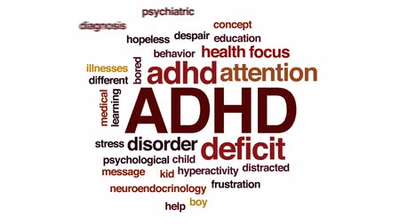 distraído : ADHD animated word cloud, text design animation.