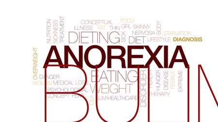 nervosa : Anorexia animated word cloud, text design animation. Kinetic typography.