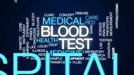 adomány : Blood test animated word cloud, text design animation.