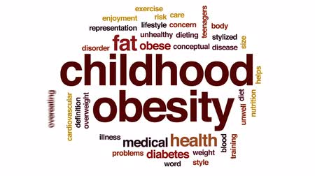 preocupar se : Childhood obesity animated word cloud, text design animation.