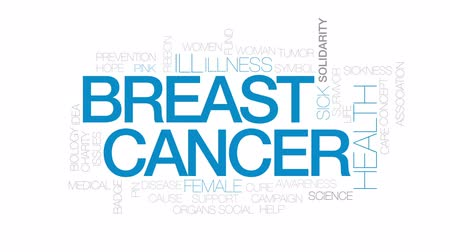 rak : Breast cancer animated word cloud, text design animation. Kinetic typography. Wideo