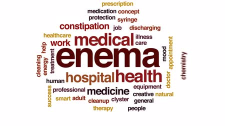 discharging : Enema animated word cloud, text design animation.