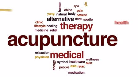 akupresura : Acupuncture animated word cloud, text design animation.