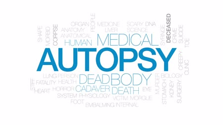 fatality : Autopsy animated word cloud, text design animation. Kinetic typography.