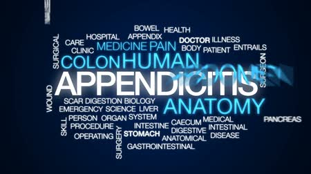 játra : Appendicitis animated word cloud, text design animation.