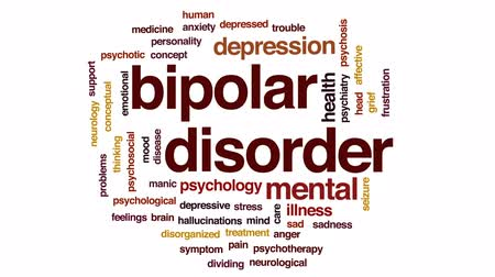 bipolar disorder : Bipolar disorder animated word cloud, text design animation. Stock Footage