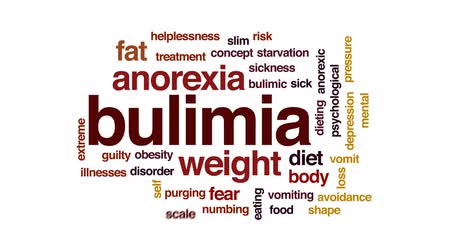com escamas : Bulimia animated word cloud, text design animation.