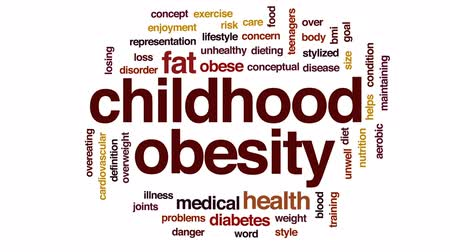 aerobic : Childhood obesity animated word cloud, text design animation.