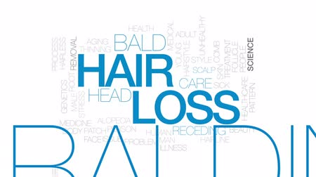 grzebień : Hair loss animated word cloud, text design animation. Kinetic typography. Wideo