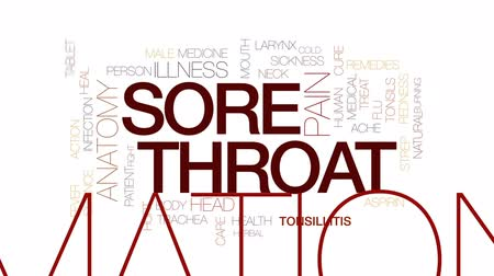 aspirina : Sore throat animated word cloud, text design animation. Kinetic typography.
