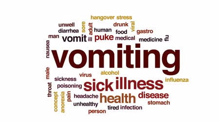 anorexia : Vomiting animated word cloud, text design animation. Stock Footage