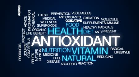 antioksidan : Antioxidant animated word cloud, text design animation.