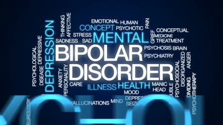 dividing : Bipolar disorder animated word cloud, text design animation. Stock Footage