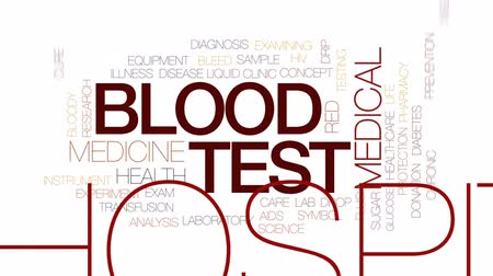 adomány : Blood test animated word cloud, text design animation. Kinetic typography.