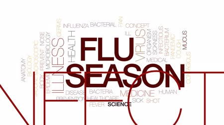 microbiologia : Flu season animated word cloud, text design animation. Kinetic typography. Stock Footage