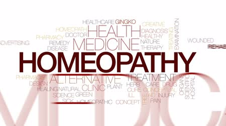 homeopati : Homeopathy animated word cloud, text design animation. Kinetic typography.