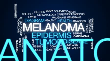 şematik : Melanoma animated word cloud, text design animation.