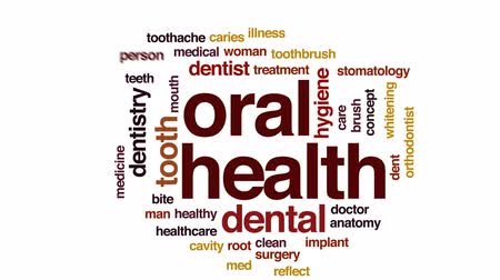 escova de dentes : Oral health animated word cloud, text design animation.