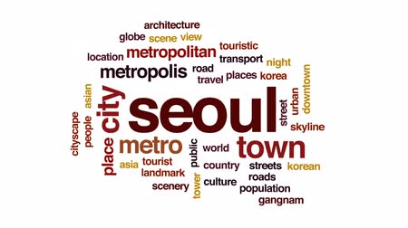 seoul : Seoul animated word cloud, text design animation.