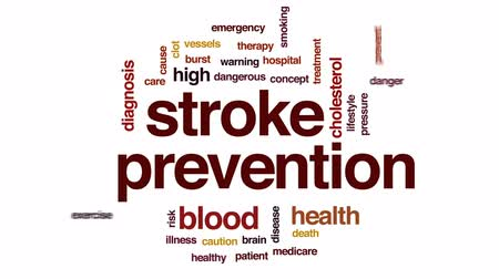 tényező : Stroke prevention animated word cloud, text design animation.