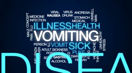 vomit : Vomiting animated word cloud, text design animation. Stock Footage