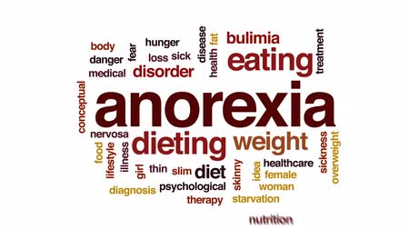 nervosa : Anorexia animated word cloud, text design animation.