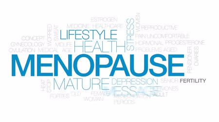idade média : Menopause animated word cloud, text design animation.  Kinetic typography.