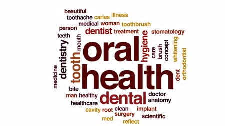 stomatologia : Oral health animated word cloud, text design animation.