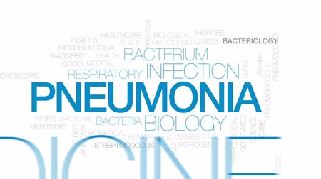 mikroskop : Pneumonia animated word cloud, text design animation.  Kinetic typography.