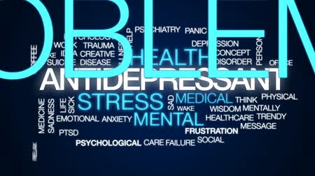 preocupar se : Antidepressant animated word cloud, text design animation.