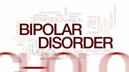 preocupar se : Bipolar disorder animated word cloud, text design animation. Kinetic typography.