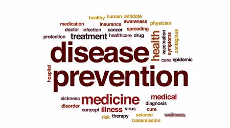 biztosítás : Disease prevention animated word cloud, text design animation.