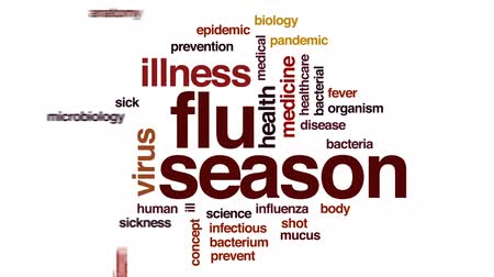 microbiologia : Flu season animated word cloud, text design animation. Stock Footage