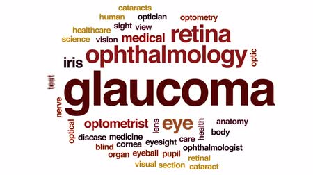 optyk : Glaucoma animated word cloud, text design animation.