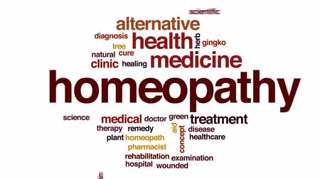 homeopatia : Homeopathy animated word cloud, text design animation.