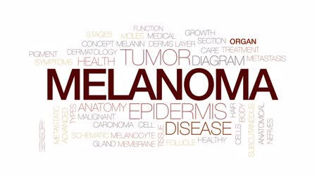malignant cells : Melanoma animated word cloud, text design animation. Kinetic typography.