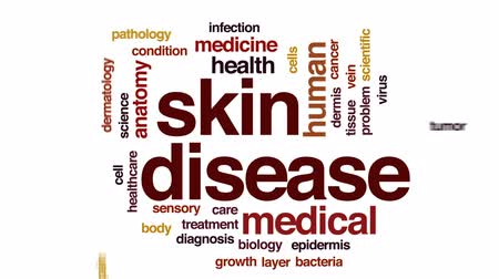 bakteri : Skin disease animated word cloud, text design animation. Stok Video