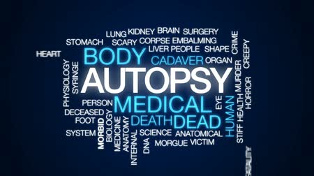 fatality : Autopsy animated word cloud, text design animation. Stock Footage