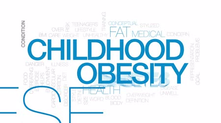 obesidade : Childhood obesity animated word cloud, text design animation.