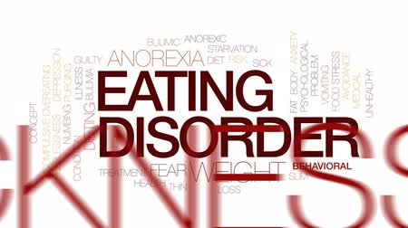 preocupar se : Eating disorder animated word cloud, text design animation.