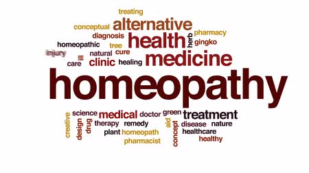 lekarstwo : Homeopathy animated word cloud, text design animation.