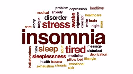 deprivation : Insomnia animated word cloud, text design animation. Stock Footage