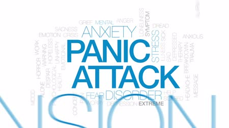 pánik : Panic attack animated word cloud, text design animation. Stock mozgókép