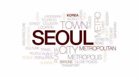 coreano : Seoul animated word cloud, text design animation.