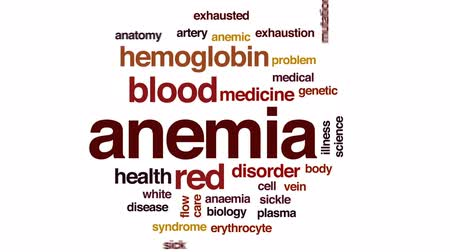 žíly : Anemia animated word cloud, text design animation.